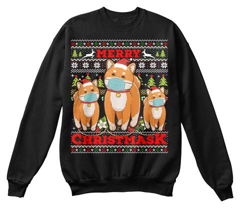 Merry Christmask 2020 Shiba Inu Ugly Tee Black T-Shirt Front