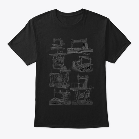 Quilting Funny Tailor Vintage Sewing Mac Black T-Shirt Front
