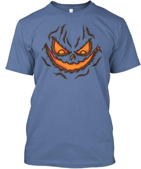 Pumpkin Face Denim Blue T-Shirt Front