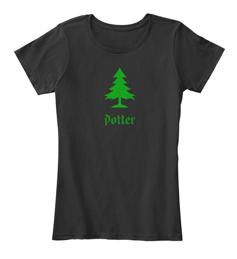 Potter Family Christmas Tree Black T-Shirt Front