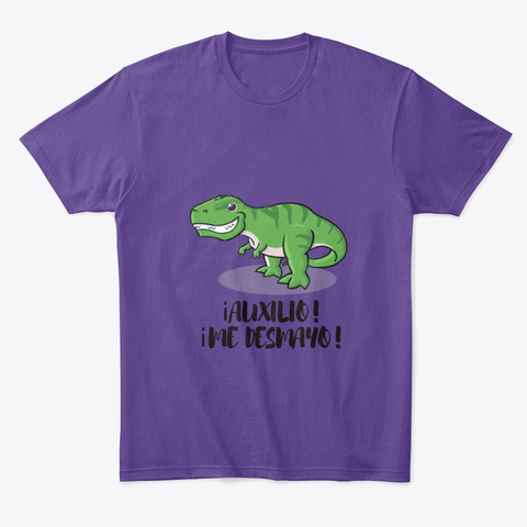Camiseta Unisex Manga Corta Dinosaurio Purple T-Shirt Front