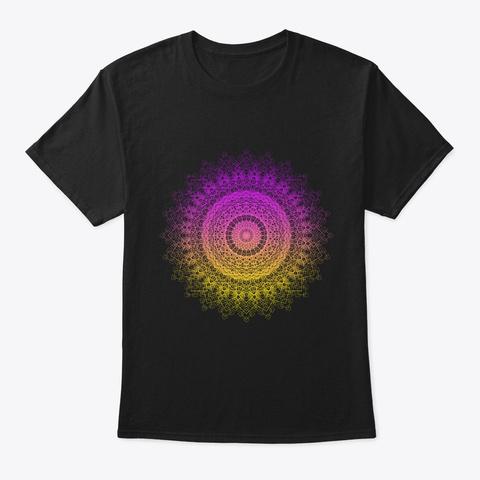 Sacred Geometry Geometric Mandala Black T-Shirt Front