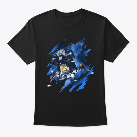 Apollo 11 Design 50th Anniversary Man Black T-Shirt Front