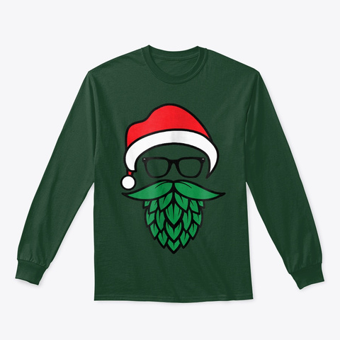 Hipster Santa Hops Beard Christmas Forest Green T-Shirt Front