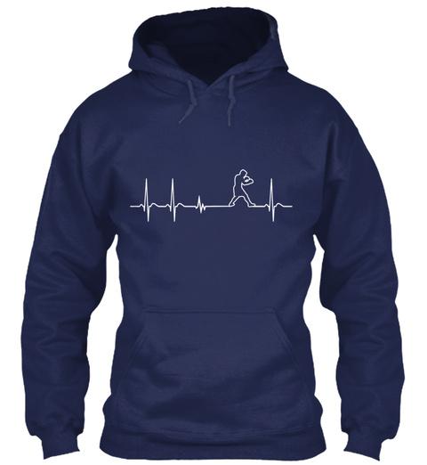 Heartbeat I Love Boxing Mma Martial Arts Navy T-Shirt Front