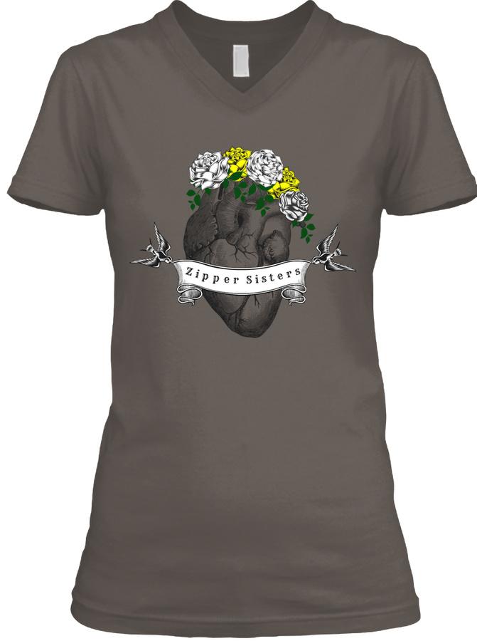Zipper Sis Tee White Roses LongSleeve Tee