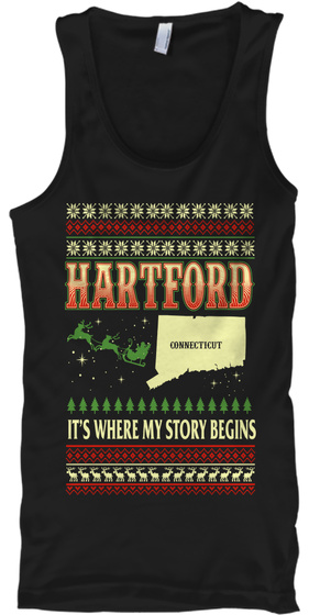 Hartford It's Where My Story Begins Connecticut Black T-Shirt Front