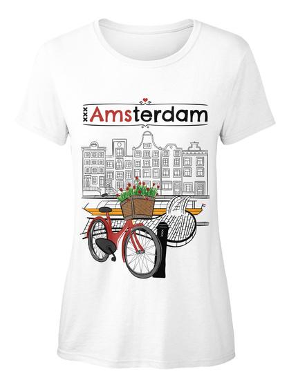 Amsterdam White Women's T-Shirt Front