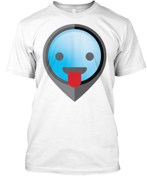 Pointer Emoji Tongue Out White T-Shirt Front