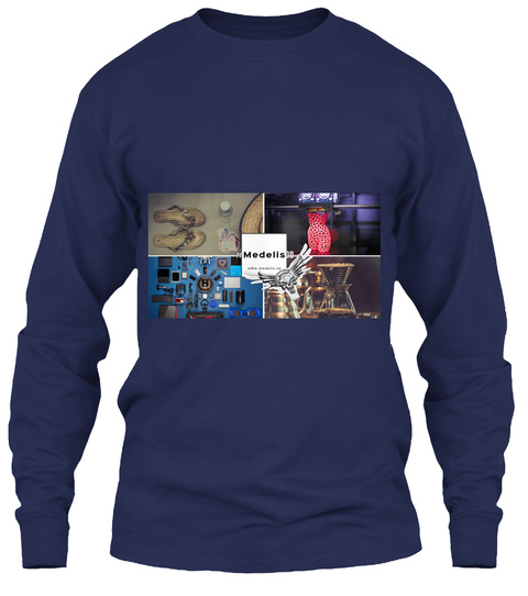 #Medelis3 D Navy Long Sleeve T-Shirt Front