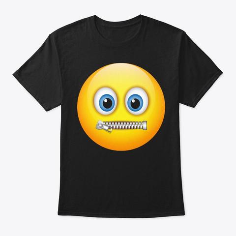 Zipper Mouth Face Emoji Costume  Hallowe Black T-Shirt Front