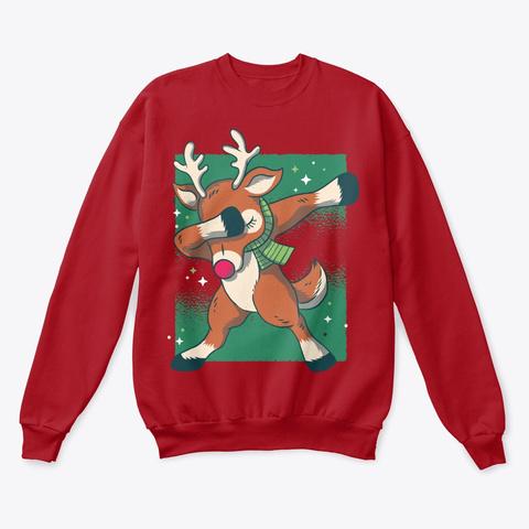 Christmas Dabbing Reindeer Deep Red  T-Shirt Front