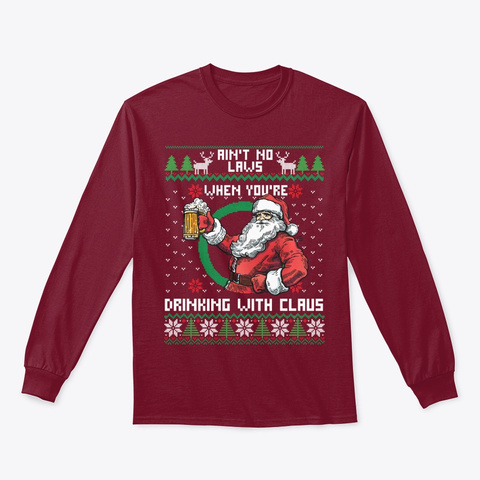 Drinking With Claus Funny Christmas Gift Cardinal Red T-Shirt Front