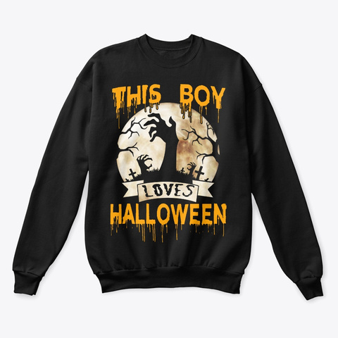This Boy Loves Halloween Skeleton Black T-Shirt Front