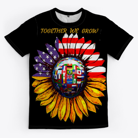 Together We Grow Black T-Shirt Front