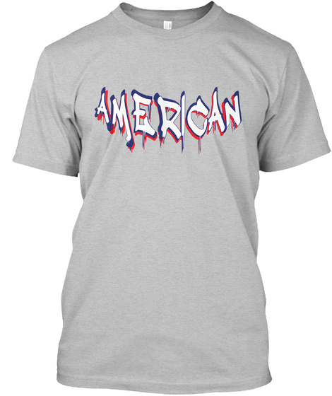 df512ab5c from American Patriot Flag USA. American Light Heather Grey T-Shirt Front