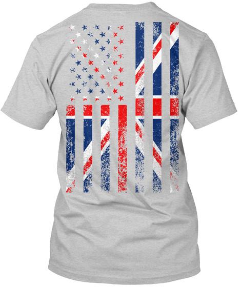 Usa + Uk Flag (Back + Small Front) Light Steel Camiseta Back