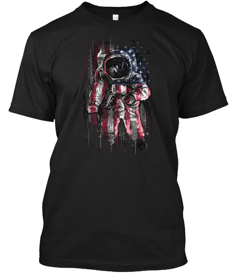Astronaut American Flag T Shirt New Black T-Shirt Front
