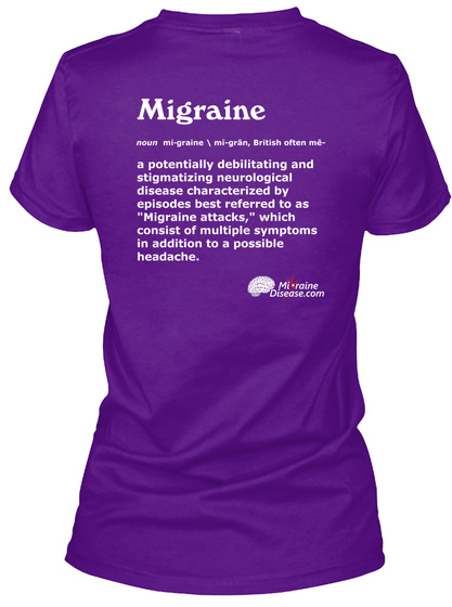 Define Migraine Purple V Neck, Women Team Purple  T-Shirt Back