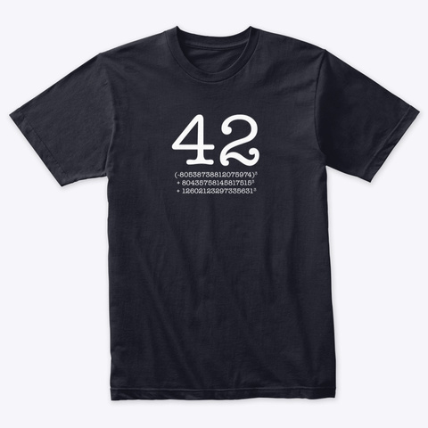 42   Sum Of Cubes   Numberphile Vintage Navy T-Shirt Front