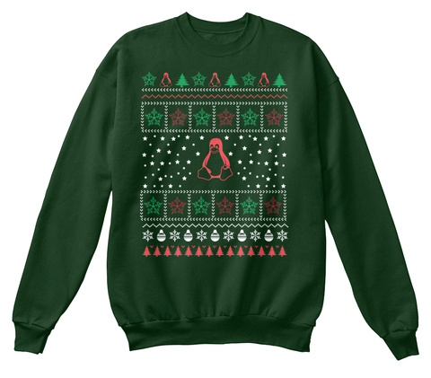 Linux Ugly Christmas Sweater Deep Forest  T-Shirt Front