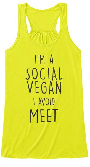 Social Vegan   Avoid Meet Neon Yellow T-Shirt Front