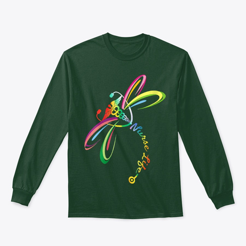 Womens Colorful Dragonfly Nurse Life Forest Green T-Shirt Front