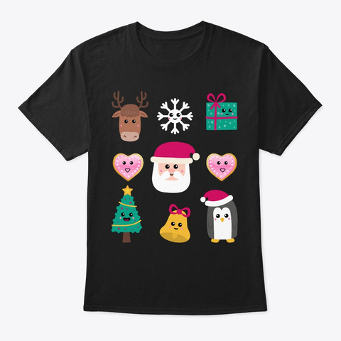 Merry Christmas Icon Emojicon Holiday Co Black T-Shirt Front