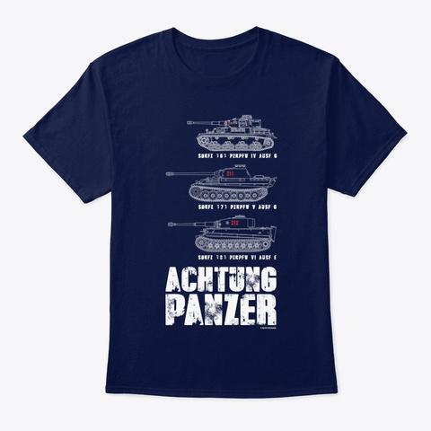 Veteran Achtung Panzer Tank Navy T-Shirt Front