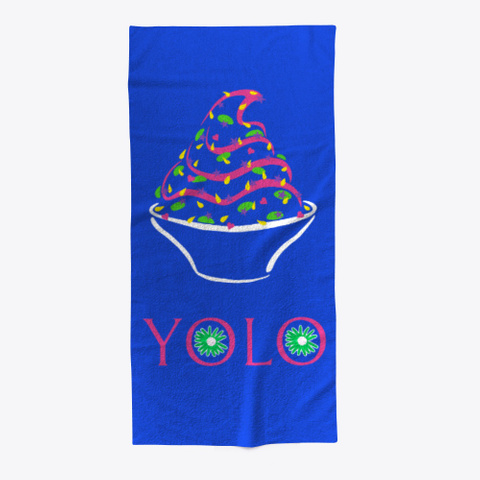 Yolo Beach Towel Royal Blue T-Shirt Front