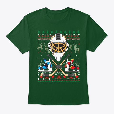 Ice Hockey Player Christmas Ornament Deep Forest T-Shirt Front