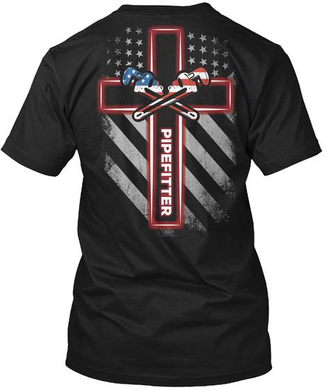 Pipe Fitter Black T-Shirt Back