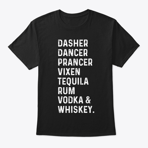 Vodka Whiskey Funny T Shirt Hilarious Black T-Shirt Front