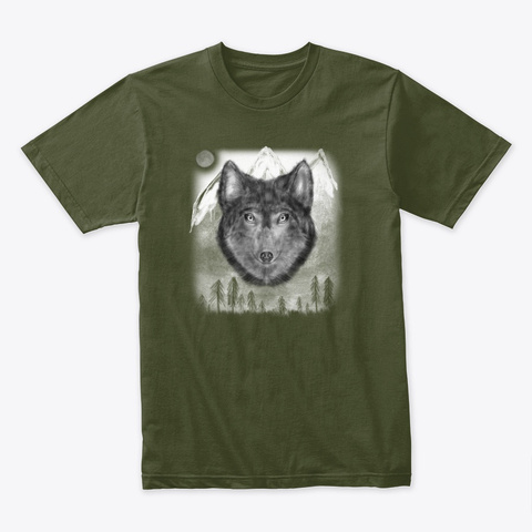 Spirit Animal   The Wolf Military Green T-Shirt Front