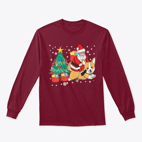 Corgi Gift Santa Claus Riding Corgmas Cardinal Red T-Shirt Front