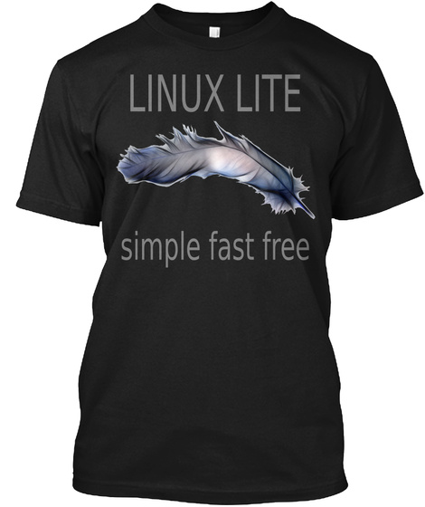 Linux Lite Simple Fast Free Black T-Shirt Front
