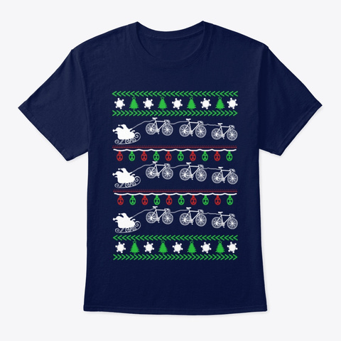 Merry Cycling Ugly Christmas Sweater Navy T-Shirt Front