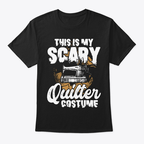 Halloween Scary Sewing Machine Quilter Black T-Shirt Front