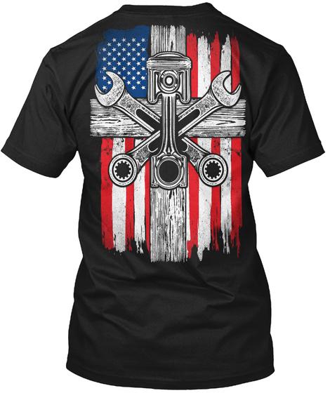 Mechanic   Us Flag Black T-Shirt Back