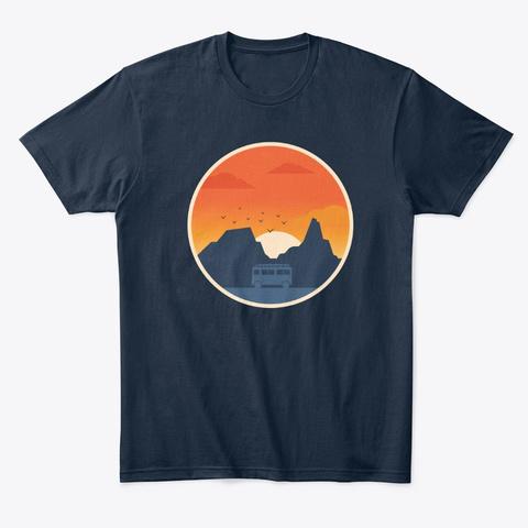 Surf Camper Van Life Road Trip Adventure New Navy T-Shirt Front