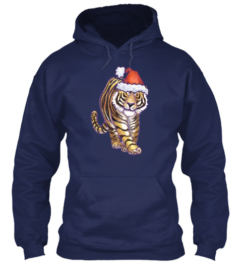 Tiger Christmas Navy T-Shirt Front