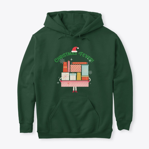 Christmas Fever! Gifts And Presents Forest Green T-Shirt Front