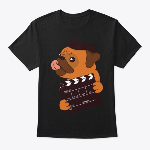Cute Pug Director For Dog Lover Black T-Shirt Front