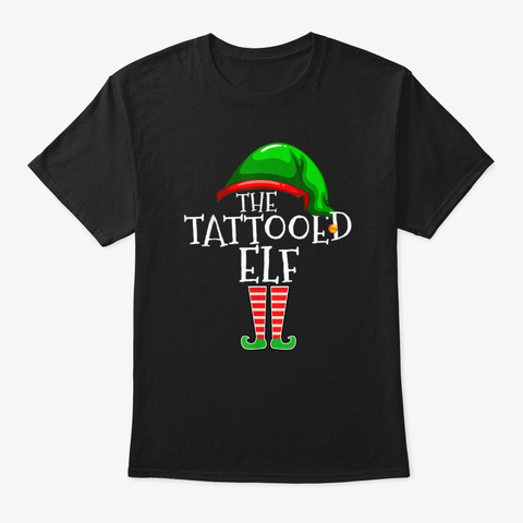 The Tattooed Elf Family Group Christmas  Black T-Shirt Front