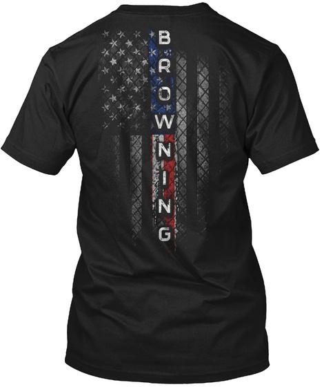 Browning Family American Flag Black T-Shirt Back