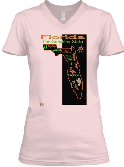 Florida The Sunshine State Flip Flops Alli Gator Palm Tree Flamingo Panther Hf Pink T-Shirt Front