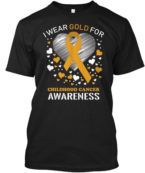 Childhood Cancer Awareness Full Heart Black T-Shirt Front
