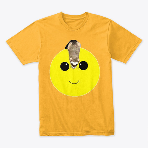 Smiley Face Ferret Gold T-Shirt Front