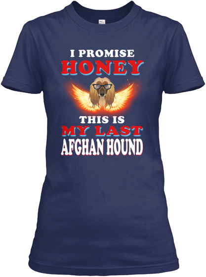 Afghan Hound Breed Lover Navy T-Shirt Front