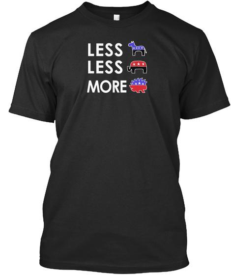 Libertarian Porcupine Funny Politics Black T-Shirt Front